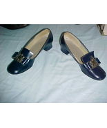 Hi Brows; Bobby Model; Navy Slip-On;7 B;Bow with Metal Coat of Arms Styl... - $9.99