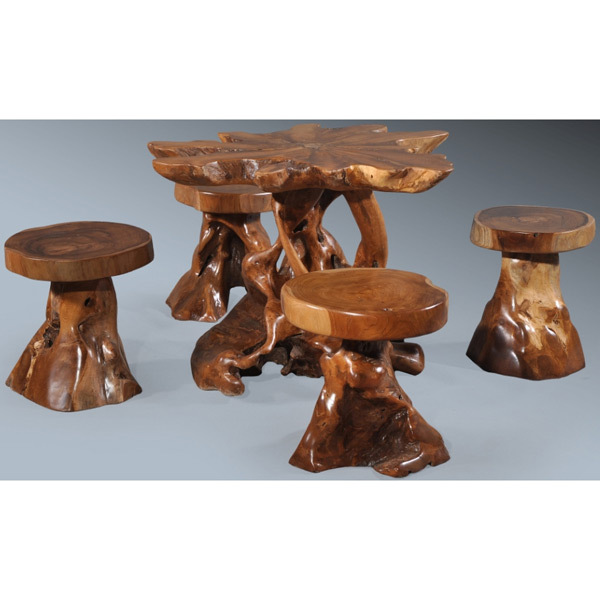Teak Wood set of 5 Garden/Pool pieces,Mushroom shaped.