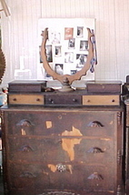 Victorian 3 over 3 Dresser,Glove/Jewelry Box;Harp Mirror Frame;Wood Draw... - $249.99