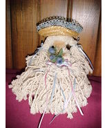 """STRING MOP RAG DOLL;LACE-TRIMMED STRAW HAT;AMISH FACE;BLUE FLOWERS;9"""";CO... - $19.99"""