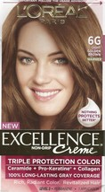 L'oreal Excellence Creme Triple Protection Hair Color 6 G Light Golden Brown Dye - $16.99