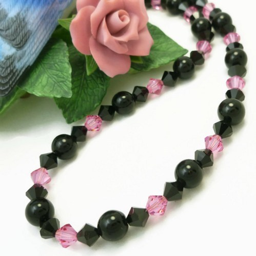 Pink and black swarovski bicone crystal choker necklace 89843fb9 1