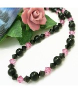 Black Obsidian Gemstone Rose Pink Swarovski Bicone Crystal Necklace - $38.00