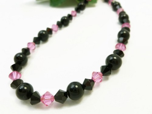 Black Obsidian Gemstone Rose Pink Swarovski Bicone Crystal Necklace