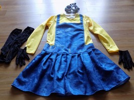 Girls Size Large Girl Minion Costume Dress Goggles Knee Socks Gloves The Minions - $28.00