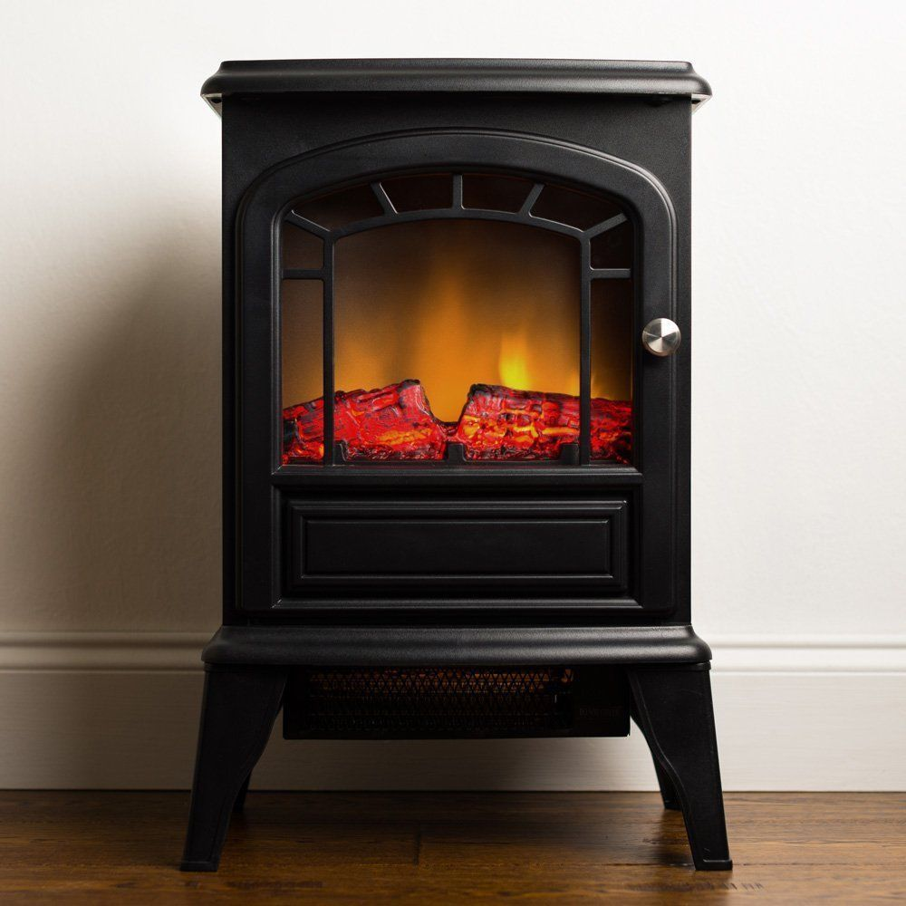 Electric Wood Stove ~ Electric fireplace space heater stove mock wood burning