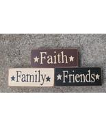 59216 -Faith Family Friends Blocks set of 3 (Cream,Burgundy and Black) W... - $5.95