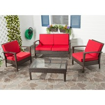 Red Wicker Patio Set Safavieh Outdoor Living Brown Cushion Glass Top 4 p... - $787.97