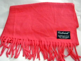 "Vintage Cashmink pink fringe soft acrylic long scarf 52"" x 11"" West Germany - $19.78"