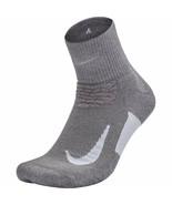 NIKE Unisex Spark Cushion Quarter Running Socks Gray/White 8-9.5 SX5463-036 - $17.99
