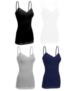 Women's 4 Pack Camisole Adjustable Strap Lace Trim Long Spaghetti Tank T... - $21.64