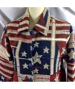 Coldwater Creek Rustic Stars Stripes Jacket Patriotic Red Blue Ecru PS - $39.11