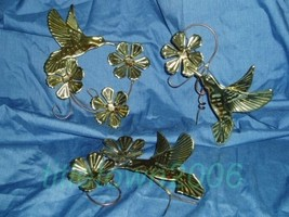 Home Interior Brass Hummingbird Blossoms Accents Homco - $12.99