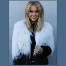 Shaggy Long Hair White and Black Angora Sheep Faux Fur Medium Length Coat Jacket