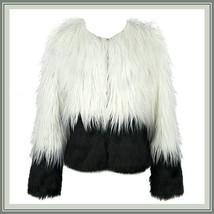 Shaggy Long Hair White and Black Angora Sheep Faux Fur Medium Length Coat Jacket image 2