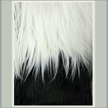 Shaggy Long Hair White and Black Angora Sheep Faux Fur Medium Length Coat Jacket image 3