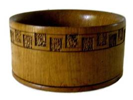 English Wood Hand Turned Mid Century Wooden Bowl Serving Untincle  - $18.50
