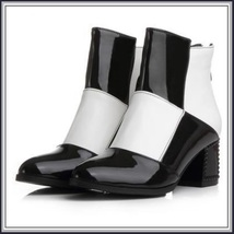 Retro Big Black and White Squares Patent Leather Zip Up Martin Heel Ankle Boots