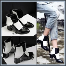 Retro Big Black and White Squares Patent Leather Zip Up Martin Heel Ankle Boots image 2