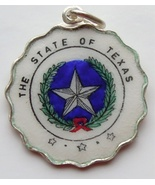 TEXAS State Seal Silver Enamel Scalloped Charm ... - $45.64