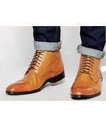 HANDMADE MEN OXFORD BROGUE ANKLE LEATHER BOOTS, MEN TAN ANKLE LEATHER BOOTS - $159.99+