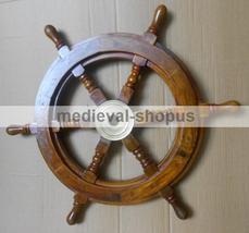 wood brass ships wheel sailboat maritime nautical decor ship Wheel 18 inch - $75.00