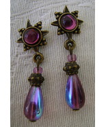 Earrings, Sweet Romance, Purple Sunburst  - $7.00