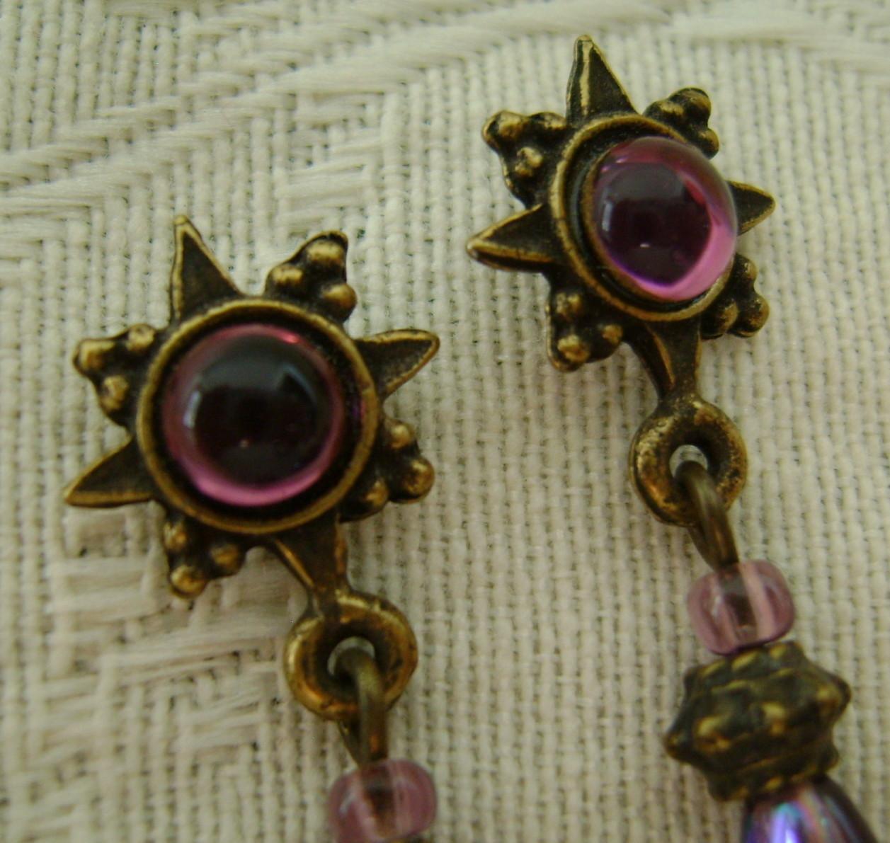 Earrings, Sweet Romance, Purple Sunburst