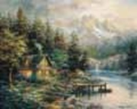 Lakeside Cottage Nicky Boehme Collectible Vintage 8X10 Foil Landscape Print - $4.99