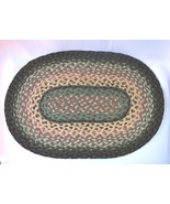"Braided Oval Natural 100% Jute Mat Green and Mauve Multi 15""x10"" #14411 - $8.29"