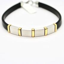 Armband 925 Silber Rhodiniert und Laminat Gelbgold mit Kautschuk 20 Cm image 2