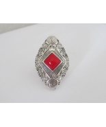 Vintage Sterling Silver Red Coral Filigree Ring... - $90.00
