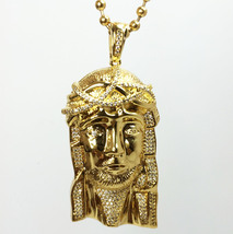 LAB MADE DIAMOND GOLD JESUS PIECE PENDANT AND BEAD CHAIN NECKLACE - $39.99