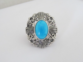 Vintage Sterling Silver Turquoise Flower Filigree Ring Size 7 - $105.00