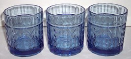 (3) BLUE ANCHOR HOCKING WHEAT DESIGN SHORT GLASS TUMBLERS - $42.99