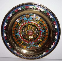 Aztec Sun Stone Calender Collectible Brass Plate Wall Plaque Native Mexican - $97.00