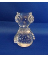 Owl Figurine Paperweight Clear Glass Controlled Bubbles - $6.99
