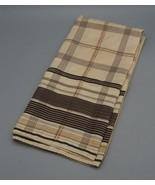 Vintage Womens 1960s Brown Tan Plaid Acetate Scarf - $16.82