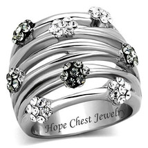 HCJ Women's Stainless Steel Little Daisy Flower Crystal Wide Band Ring S... - $15.29