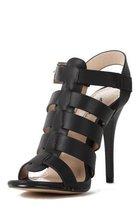 Anne Michelle Enzo 77 Black Single Sole Caged Gladiator Heel Sandal Size 9 - $39.99