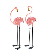 Life-size Iron Flamingo pair yard sculptures tr... - $53.99