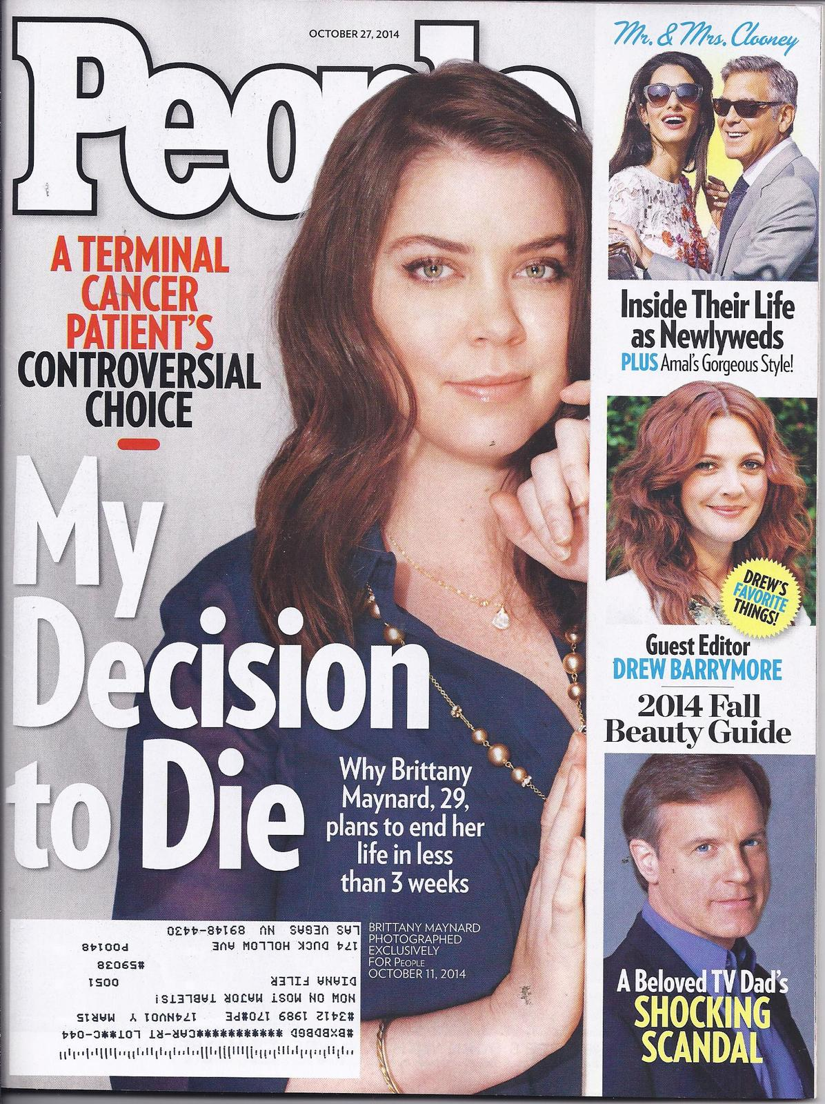 BRITTANY MAYNARD, 29 Plans to Die @ People Magazine Oct  27, 2014 - $2.95