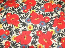 30s Red Poppies Blue  Yellow Flowers on White Cotton Fabric  - $8.95