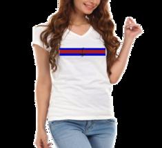 Nautical Anchor Sail Stripes Ladies V-Neck T-Shirt - $12.00