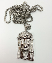 White Gold Jesus Piece Chain Necklace Iced Out  - $33.14
