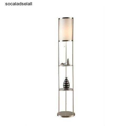 modern shelf floor lamp glass display shelves chrome With chrome floor lamp with shelves