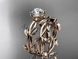 unique 14k white gold leaf and vine wedding set ADLR522S - $1,100.00