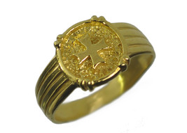 New Amalfi cross Maltese Symbol knights 24K Gold Plated Jewelry ring pic... - $20.65