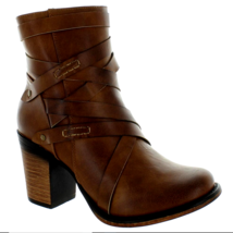Pierre Dumas Ranvenna-4 Womens Size 9 Brown Ankle Boots strappy Zip Stac... - $33.68
