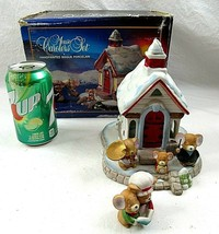 Christmas Mouse Carolers Set Church Tealight Lighted Bisque Vintage Jasco 432 - $29.69